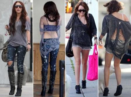 Miley Cyrus levando roupas estilo homeless
